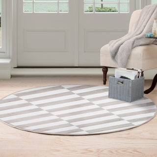 Windsor Home Checkered Stripes Area Rug - 5' Round