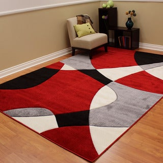 Hollywood Abstract Wave Design Red/Black/White Area Rug (7'10 x 10'8)