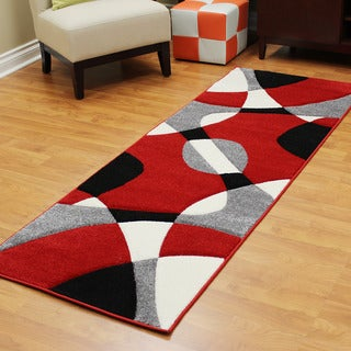 DonnieAnn Hollywood Red Polypropylene Abstract Wave Design Runner (2' 7.25 x 7' 3.75)
