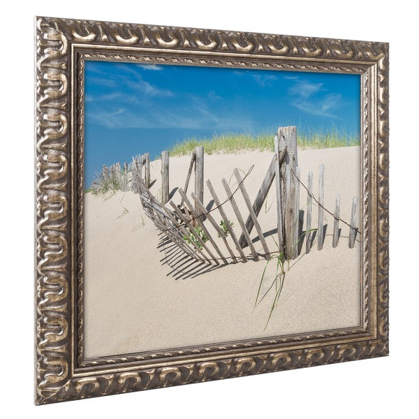 Michael Blanchette Photography 'Worn Beach Fence' Ornate Framed Art