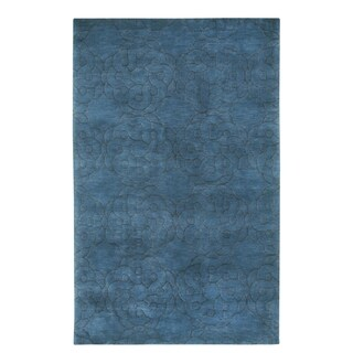 COCOCOZY Coil Rectangle Navy Hand Knotted Rug (8' x 11') - 8' x 11'