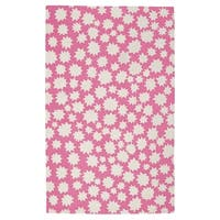 Hable Construction Sky-Heavenly Rectangle Pink Machine Woven Rug (3' x 5') - 3' x 5'