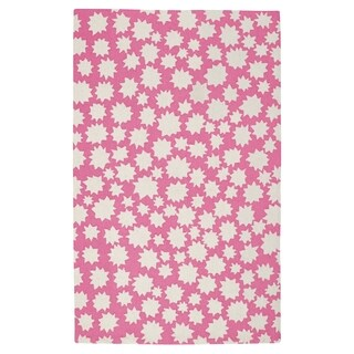 Hable Construction Sky-Heavenly Rectangle Pink Machine Woven Rug (3' x 5')