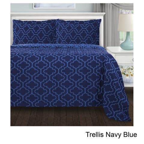 Superior Reversible Brushed Cotton Flannel Trellis Duvet Cover Set