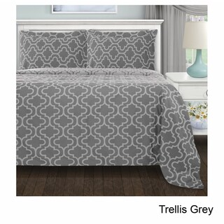 Superior Reversible Brushed Cotton Flannel Trellis Duvet Cover Set