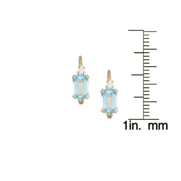 Gioelli 10k Yellow Gold Swiss Blue Topaz Leverback Earrings
