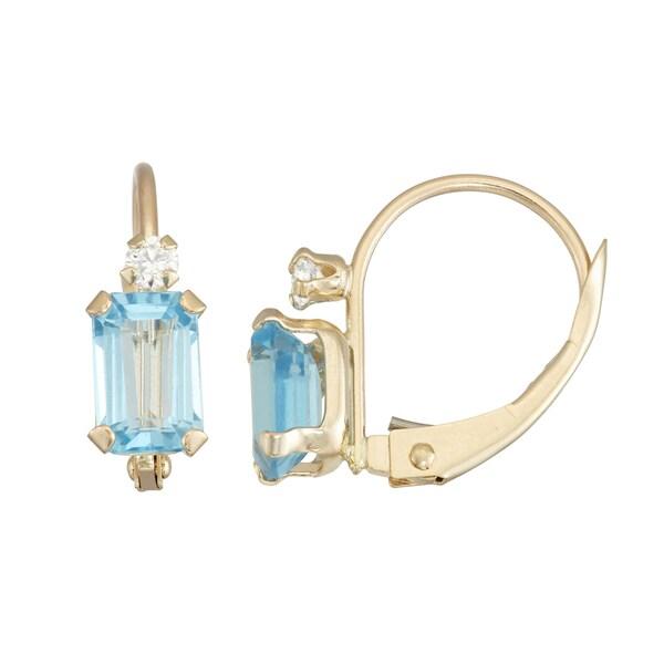 Gioelli 10k Yellow Gold Swiss Blue Topaz Leverback Earrings. Opens flyout.