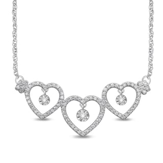 Unending Love 10k White Gold 1/4ct TDW White Diamond Triple Heart Illusion Fashion Necklace (I-J, I2-I3)
