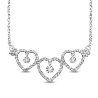 Unending Love 10k White Gold 1/4ct TDW White Diamond Triple Heart Illusion Fashion Necklace (I-J, I2-I3)