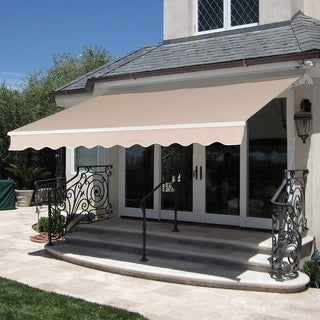Mcombo 12x10ft Retractable Patio Awning Sunshade Brown