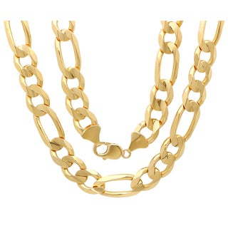 Sterling Essentials 14K Gold 13 mm Diamond-cut Figaro Chain Necklace ( 24-30 Inch )