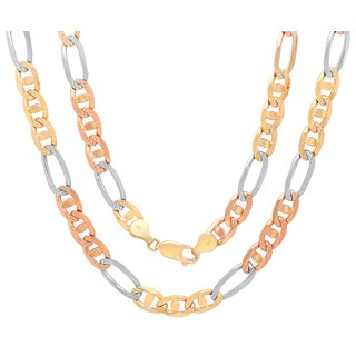 Sterling Essentials 14K Tri-color Gold 7 mm Diamond-cut Marina Figaro Chain Necklace ( 20- 30 Inch )
