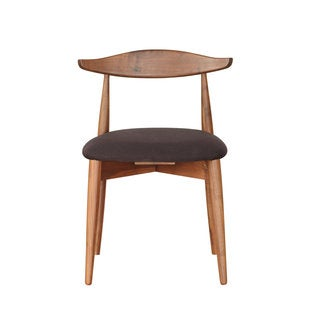 Mid Century Modern Solid American Walnut Dining Chair Black (Set of 2)