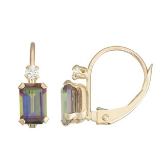 Gioelli 10k Yellow Gold Mystic Quartz Leverback Earrings