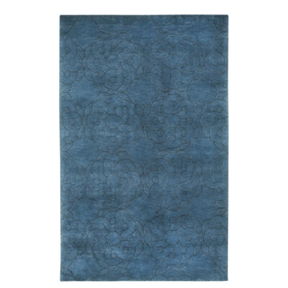 COCOCOZY Coil Rectangle Navy Hand Knotted Rug (9' x 13')