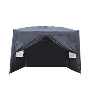 MCombo 10x10 Foot EZ Popup 4 Wall Black Canopy Party Tent