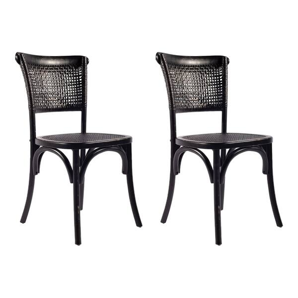 Aurelle Home Black Rattan Dining Chairs Set Of 2 Overstock 14368568
