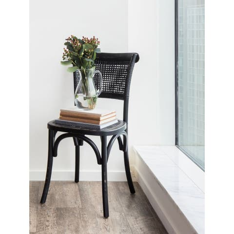 Aurelle Home Black Rattan Dining Chairs (Set of 2) - N/A