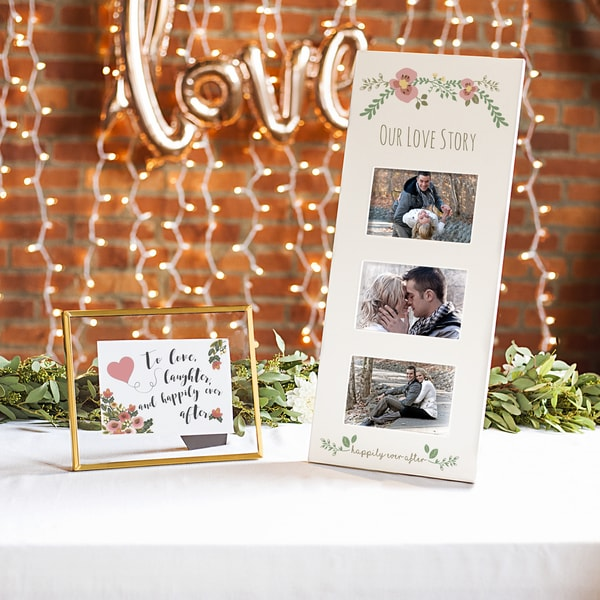 Floral Love Story White Three Window Wedding Picture Frame
