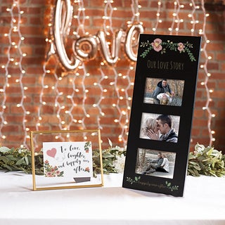 Floral Love Story Black Three Window Wedding Picture Frame