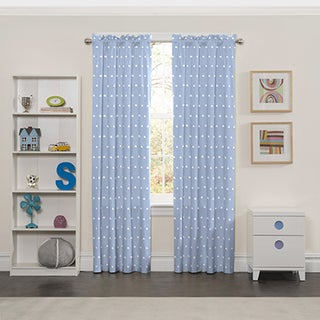 Eclipse Blue Polyester Cozy Clouds Window Curtain Panel