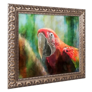 Lois Bryan 'Green Winged Macaw' Ornate Framed Art