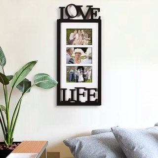 Link to Adeco Black White Wood 'Love Life' Family Wall Hanging Collage Similar Items in Decorative Accessories