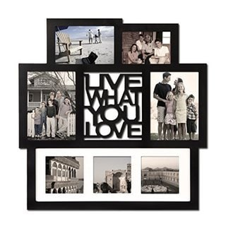 Adeco 'Live What You Love' Black Wood 7-opening Wall Hanging Photo Frame Collage in Various Sizes