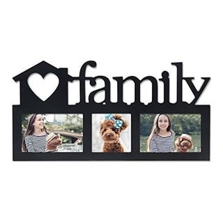 Adeco Decorative Black Wood 'Family' Wall Hanging Picture Photo Frame