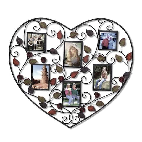 Adeco 6-opening Decorative Bronze Iorn Metal Heart Wall Hanging Collage Photo Frame, with 3.5x5-inch and 3.5x3.5-inch Openings