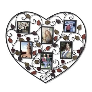Link to Adeco 6-opening Decorative Bronze Iorn Metal Heart Wall Hanging Collage Photo Frame, with 3.5x5-inch and 3.5x3.5-inch Openings Similar Items in Decorative Accessories