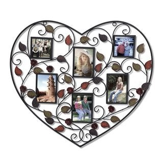 Adeco Bronze Iron Metal 6-opening Decorative Heart-shaped Wall-hanging Collage Picture Photo Frame