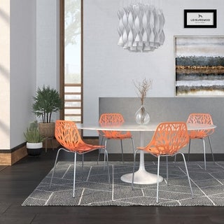 LeisureMod Asbury Orange Open Back Chrome Dining Side Chair set of 4