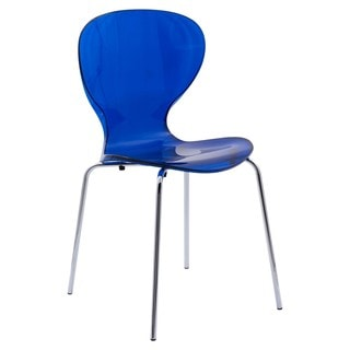 LeisureMod Modern Oyster Transparent Blue Side Chair