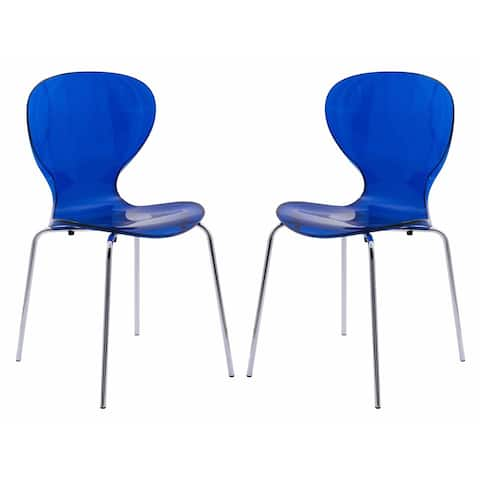 LeisureMod Oyster Modern Blue Round Back Dining Side Chair Set of 2