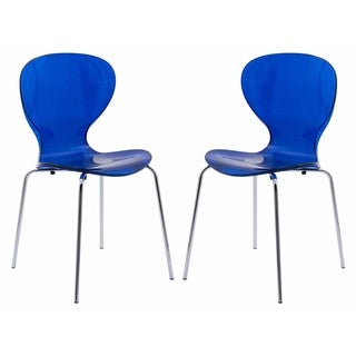 Link to LeisureMod Oyster Modern Blue Round Back Dining Side Chair Set of 2 Similar Items in Dining Room & Bar Furniture