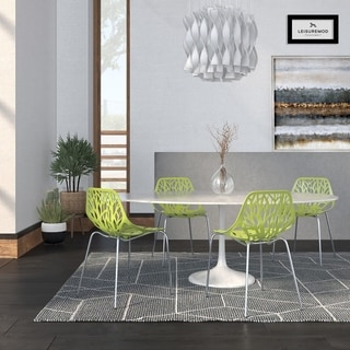 LeisureMod Modern Asbury Dining Chair with Chromed Legs (Set of 4)