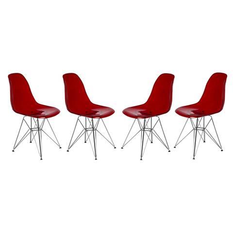 LeisureMod Cresco Transparent Red Eiffel Base Dining Chair Set of 4