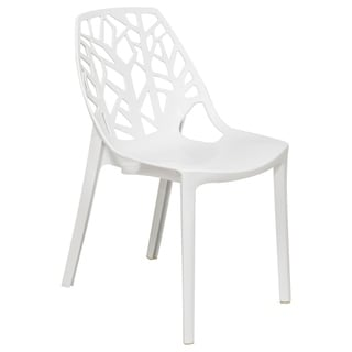 LeisureMod Modern Flora White Cut-out Plastic Dining Chair