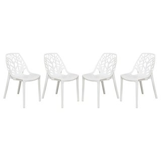 LeisureMod Modern Flora White Cut-out Plastic Dining Chair (Set of 4)