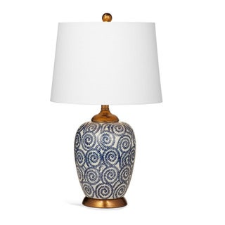 Lawton 24-inch White and Blue Ceramic Table Lamp