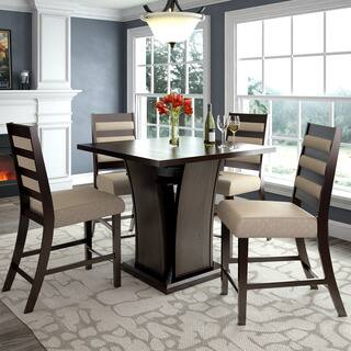 CorLiving Bistro 5pc Counter Height Dining Set, Cappuccino and Woven Cream|https://ak1.ostkcdn.com/images/products/14368975/P20943199.jpg?impolicy=medium