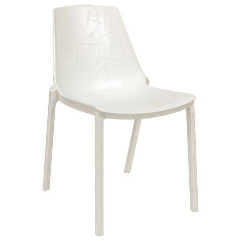 LeisureMod Modern Clover Dragonfly Design White Dining Chair