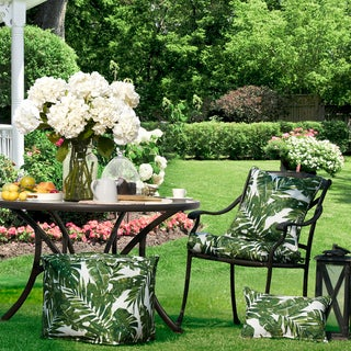 Madison Park Navio Green Printed Palm 3M Scotchgard Indoor/Outdoor Seat Cushion