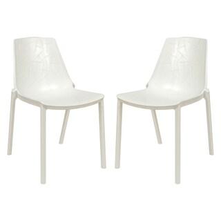 LeisureMod Modern Clover White Dining Chair (Set of 2)