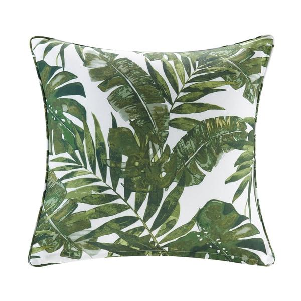 Madison Park Navio Green Printed Palm 3M Scotchgard Indoor/Outdoor Square Throw Pillow