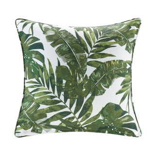 Madison Park Navio Green Printed Palm 3M Scotchgard Outdoor Square Throw Pillow 2-Color Option (3 options available)