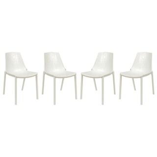 LeisureMod Modern Clover White Dining Chair (Set of 4)