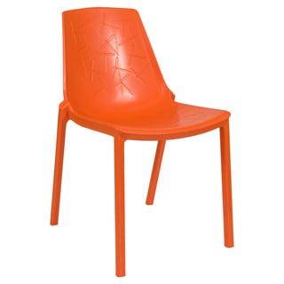 LeisureMod Modern Clover Orange Dining Chair