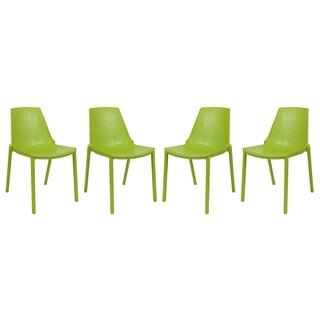 LeisureMod Modern Clover Green Dining Chair (Set of 4)